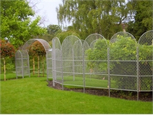 Expanded Mild Steel raised mesh, made into garden trellis screens